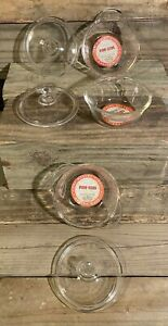 Fire King Glass Clear Individual 10 oz Casserole & Lid 6 Piece Set With Labels