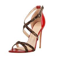 Onlymaker Womens Sexy Criss Cross Leopard Ankle Strap Stilettos Open Toe Sandals
