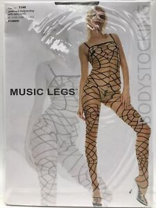 Music Legs Style No 1148 White Spider Web Bodystocking with Body Open Crotch
