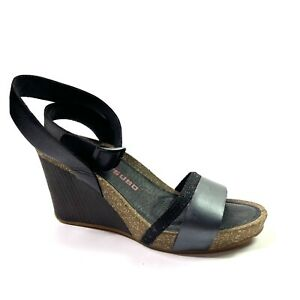 Tsubo Womens Black Leather Adjustable Buckle Wedge Heel Sandals Shoes Size 8.5
