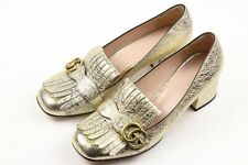 GUCCI 'Marmont' Metallic Gold GG Kiltie Pumps Womens Heels Sz 40/ US 10