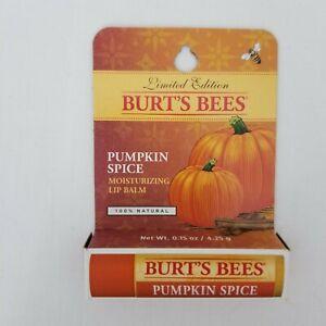 Burt's Bees Pumpkin Spice Natural Moisturizing Lip Balm Beeswax Coconut Oil