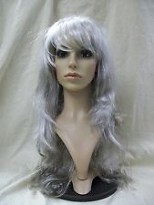 Long Gray Fallen Angel Wig Goddess Zombie Ghost Spirit Queen Old Banshee Ghastly