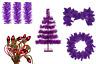 Purple Christmas Decoration Bundle Kit 3FT Tree, Garland, Wreath, Lights, Tinsel