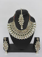 Ethnic Gold Plated Bollywood Indian Fashion Pearl Bridal Jewelry Necklace Set