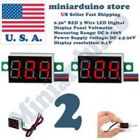 """2pcs 0.36"""" RED DC 0-100V 3 Wire LED Digital Display Panel Volt Meter Voltmeter"""