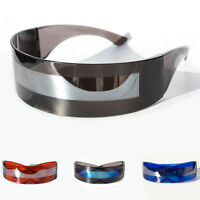 SPACE ROBOT PARTY RAVE COSTUME CYCLOPS FUTURISTIC SHIELD SUNGLASSES COLOR MIRROR