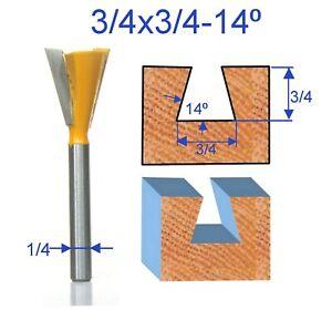 "1 pc 1/4"" SH 3/4 Diameter 14° Dovetail Router Bit (43705PC) For Omni Jig"