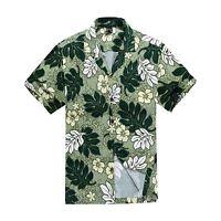 Men Tropical Hawaiian Aloha Shirt Cruise Luau Beach Party Green Leaf Floral
