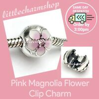 New Authentic Genuine PANDORA Silver Pink Magnolia Flower Clip Charm - 792078PCZ