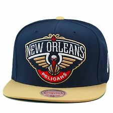 Mitchell & Ness New Orleans Pelicans NBA Snapback Hat Navy/Wheat/Team Logo