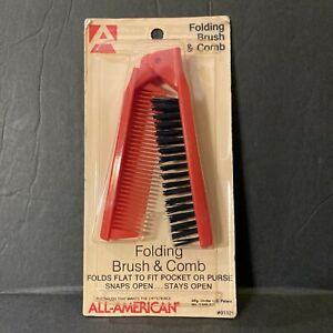 Vintage NEW Folding Brush Comb Hot Pink Black All American MADE IN USA