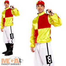 Yellow Racing Jockey Mens Fancy Dress Polo Horse Rider Adults Sports Costume