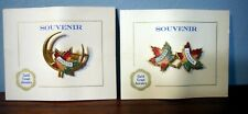 2 Vintage Canada London Double Maple Leaf Enamel Pin Badge Brooch Souvenir NEW