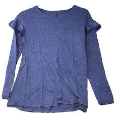 Girls' Long Sleeve Ruffle Top Cat & Jack  Blue XS 4/5