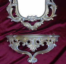 Wall Mirror + Storage Console Set Mirror 50X76 Antique Baroque Gold Silver 118S