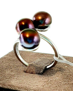 Ladies 925 Solid Sterling Silver Freshwater Peacock Pearl Trilogy Ring Size M.