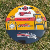 VINTAGE PENNZOIL PORCELAIN SERVICE SIGN, GAS & OIL STATION PUMP PLATE MOTOR OIL!