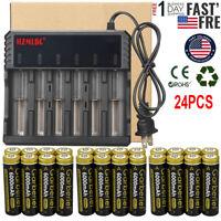 24Pcs 18650 Rechargeable Battery 6000MAH 3.7V Li-Ion Batteries for Flashlight