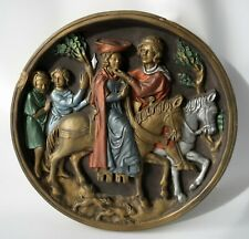 Marcus Designs Round Plaque Couple Horseback Lovers Medieval Chalkware Vintage