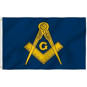 Masonic Lodge FreeMasons Blue and Gold Flag 3x5 with Grommets New
