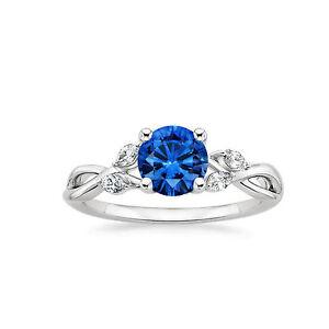 1.18 Ct Genuine Diamond 14K White Gold Blue Sapphire Wedding Ring Size 7 6 5.5