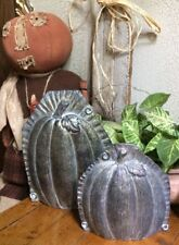 PAIR Primitive Antique Tin Style Halloween Pumpkins Silver Resin Chocolate Mold