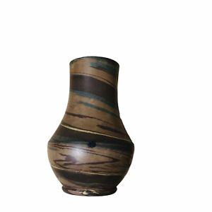 "Vintage Niloak Small Swirl Vase 4.25"" Tall & 3"" Diameter Brown, Tan, Teal"