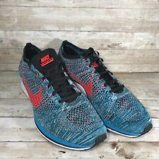 Nike Flyknit Racer Turquoise/Bright Crimson Running Shoes 526628 404 Men's 10.5