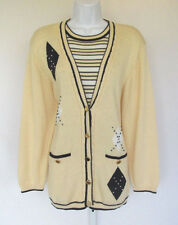 Vintage 1970s 80s Koret Knit Cardigan Sweater With Built In Shirt Large Beads