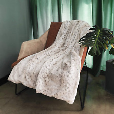 Ofadd Faux Fur Throw Blanket For Sofa Mink Plush Leopard Throws Comfortable Cozy