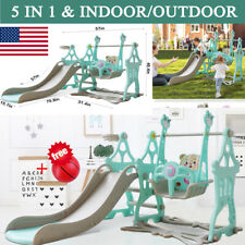 5 In 1 Fun Swing Set Kids Playground Slide Outdoor Backyard Space Saver Playset