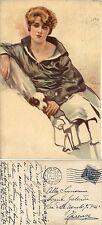 Illustrata, Aleardo Terzi, donna con cucciolo, viaggiata 1921