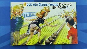 Saucy Bamforth Comic Postcard 1960's Nylons Stockings Panties TEN PIN BOWLING