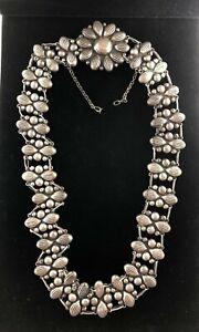 "Vintage Sterling Silver Concho Belt Floral Southwest Mexico Panel 28.5"" Patina"