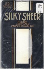 Pantyhose Silky Sheer Plus Size Lycra Sandalfoot (Size 4X) White New in Package
