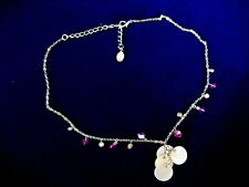 "COOKIE LEE Purple Crystal, Art Glass,Shell &Pearl Silver Tone 18"" Necklace - NEW"