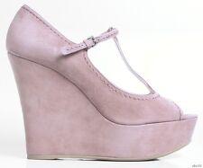 new $640 MIU MIU PRADA open-toe T-strap blush suede platfroms WEDGES shoes 41 11