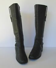Bouquets Womens Black Faux Leather Knee High Zip Up Buckle Boots  7 M