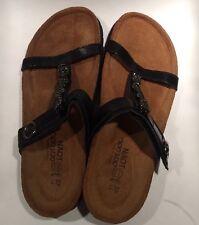 NAOT Malibu Sandal Slides Color: Black Madras Leather 37 L6