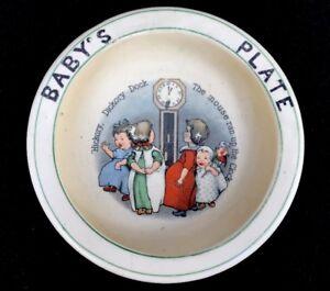 Vintage '20s Roseville Pottery Baby Plate Nursery Rhyme Hickory Dickory Dock U17