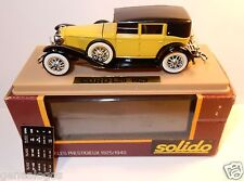 OLD SOLIDO CORD L29 1929 LIMOUSINE JAUNE REF 55 MADE IN FRANCE 1/43 IN BOX