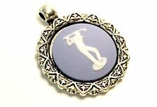 Wedgwood Jewelry Cameo in Antique Silver Plate Pendant