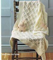 (208) Baby Blanket Copy Knitting Pattern, Gorgeous Lace Design in DK yarn
