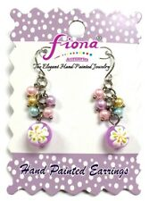 Spring Flower Pink Handmade Glass Bead cluster earring New with Gift Bag