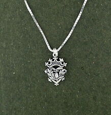 "Thistle Luckenbooth Pendant Necklace Sterling Silver 18"" Chain Scottish Scotland"