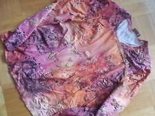 Samoon Langarm Shirt Rundhals Gr. 44 Blumen orange pink gold gemustert indisch