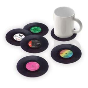 2/4/6X Vinyl Style Boxed Coasters Place Mats Bar Set Retro Vintage Record DiscsK