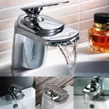 Modern Waterfall Bathroom Taps Basin Sink Mono Mixer Chrome Cloakroom Tap