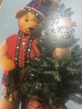 Unused Christmas Card American Greetings With Envelope Glitter Teddy Bear Tree